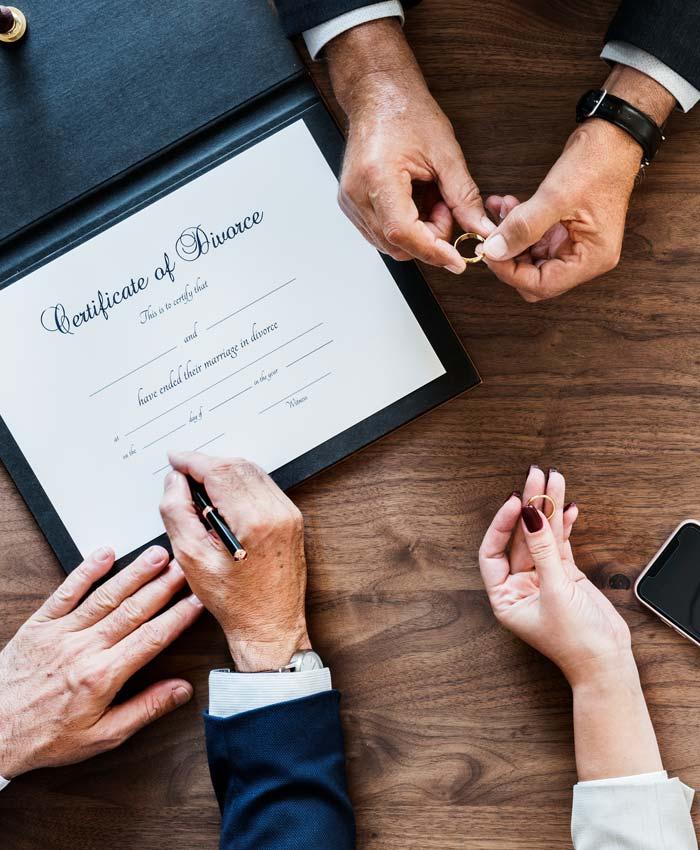 Divorce orders showing hands around